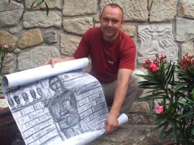 Sebastian Lichodziejewski prezentuje szkic pomnika Tadeusza Nalepy