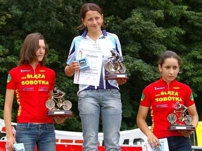 Nagrodzone dziewczęta na podium