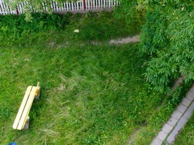 Ławka na trawniku przy ulicy Małachowskiego