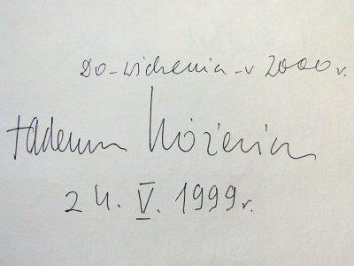 Wpis Tadeusza Różewicza w księdze księgarni Agora