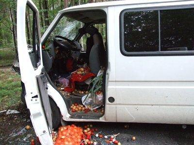 Uszkodzona kabina Forda Transita