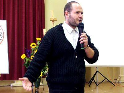 Bartosz Kokoszka podczas wykładu