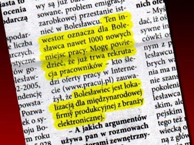 """Fragment wywiadu z Piotrem Romanem, kandydatem na prezydenta. """"Express Bolesławiecki"""" z 17.11.2006"""