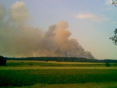 Dym unoszący się nad płonącym polem było widać z odległości kilkunastu km