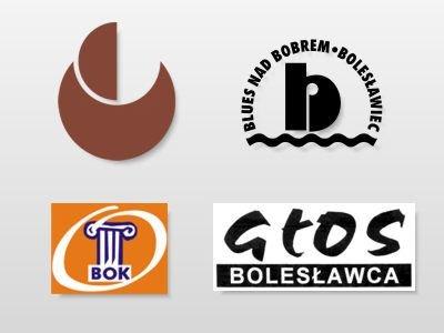 Logo: Międzynarodowych Plenerów Ceramiczno-Rzeźbiarskich, Festiwalu Blues nad Bobrem, Bolesławieckiego Ośrodka Kultury oraz nieukazującej się gazety Głos Bolesławca