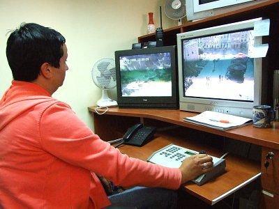 Stanowisko do podglądu obrazu z kamer znajduje się w siedzibie Straży Miejskiej
