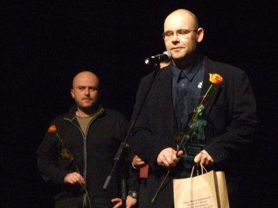 W imieniu grupy kolarskiej Cyklosport nagrodę odebrał Dominik Broniszewski