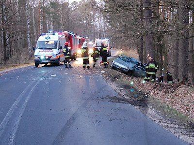 Kierowca samochodu Renault zjechał z drogi i uderzył w drzewo