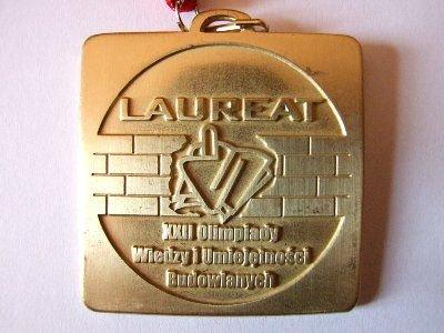 Medal Laureata XXII Olimpiady Wiedzy i Umiejętności Budowlanych