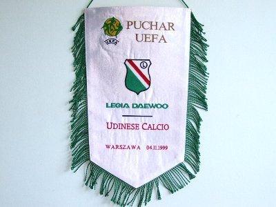 Proporzec upamiętniający mecz Legii Daewoo Warszawa z Udinese Calcio (awers)