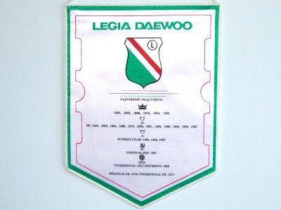 Proporzec upamiętniający największe sukcesy Legii Daewoo Warszawa (awers)