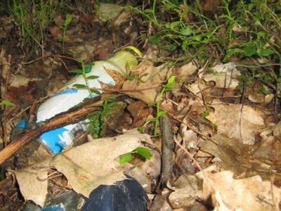 Śmieci rozrzucone są głęboko w lesie, nie tylko przy dróżkach