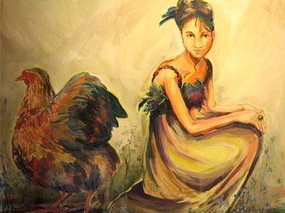 Kura zamiast jajek wysiaduje bajki - obraz autorstwa Niny Grugl