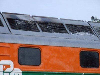 Ogień wydobywał się z dachu lokomotywy