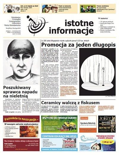 Pierwsza strona nowej bolesławieckiej gazety wydawanej przez nasz portal