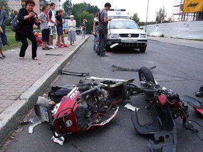 Chłopiec kierujący skuterem został odwieziony do szpitala