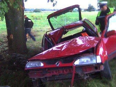 Samochód Renault 19 wypadł z drogi i uderzył bokiem w drzewo