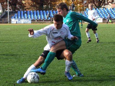 Drugiego gola dla BKS zdobył Mateusz Janczyszyn (po prawej)
