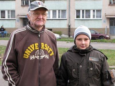 Eugeniusz Michalak z wnukiem