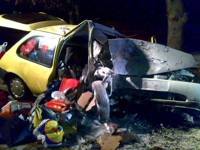 Ford Fiesta zjechał z drogi i uderzył w drzewo