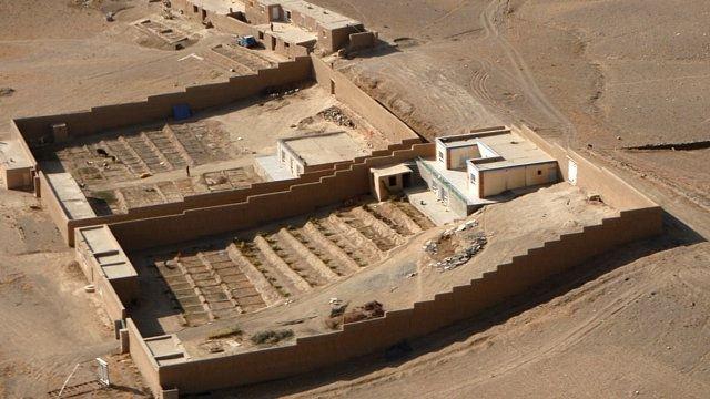 Afgańska wioska, widok z helikoptera. z-index: 0