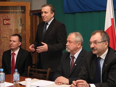 Od lewej: Piotr Borys, Grzegorz Schetyna, Karol Stasik i Cezary Przybylski