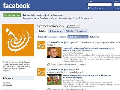 Strona IstotneInformacje.pl na Facebooku