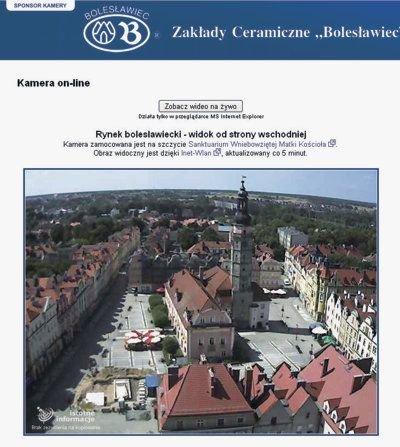 Obraz bolesławieckiego Rynku z kamery portalu IstotneInformacje.pl