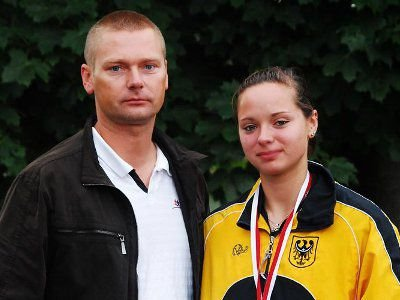 Trener Tomasz Markowski wraz z Agnieszką Dalmatą - Mistrzynią Polski w rzucie dyskiem
