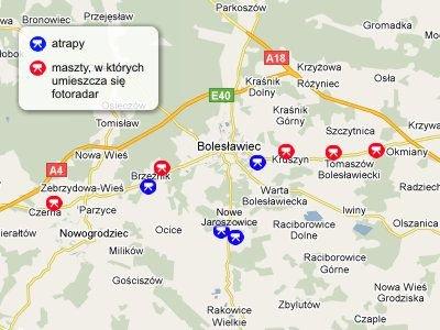 Mapa fotoradarów i atrap w powiecie bolesławieckim