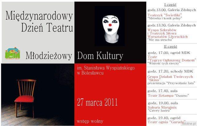 Plakat zapowiadający obchody Międzynarodowego Dnia Teatru w MDK