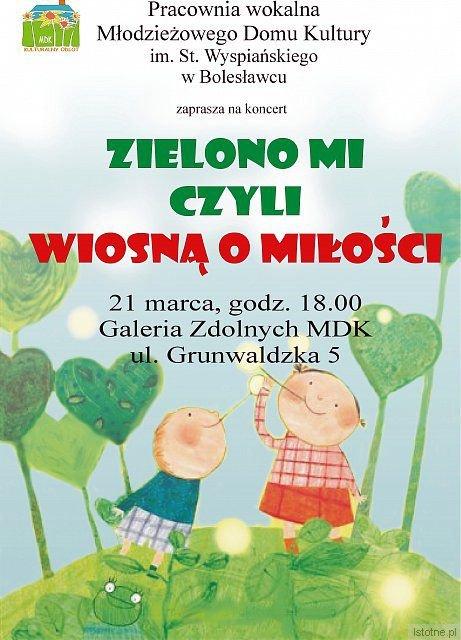 """Plakat zapowiadający koncert """"Zielono mi"""""""