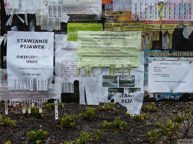Na tablice naklejono, bez ładu i składu, reklamy przeróżnych usług.
