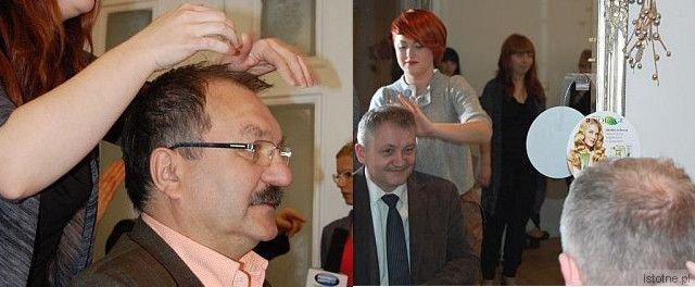 Cezary Przybylski i Dariusz Kwaśniewski na konkursie fryzjerskim