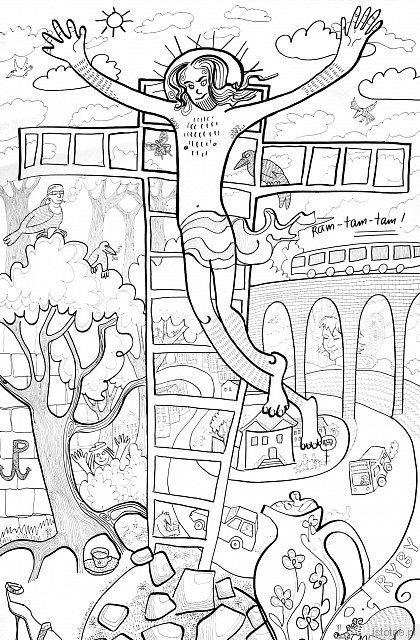 """""""Ludzie (z) miasta"""" – fragment tryptyku Tanji Rein wykonany na płótnie za pomocą markerów permanentnych"""