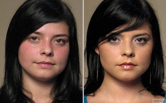 Przed i po makijażu naturalnym.