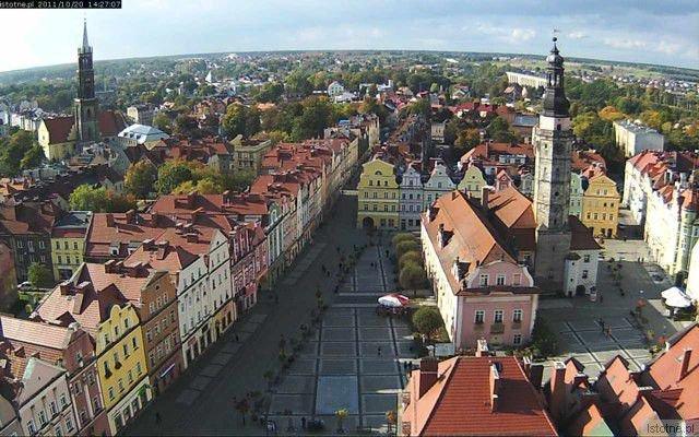 Obraz z kamery zamontowanej na szczycie Bolesławieckiego Sanktuarium Maryjnego