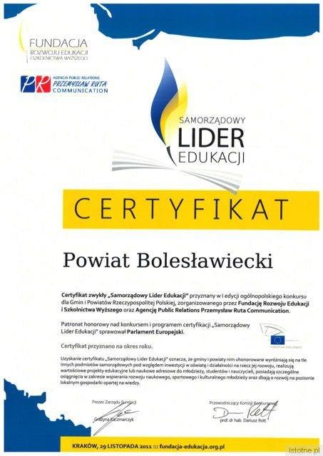 """Certyfikat """"Samorządowy lider edukacji"""""""
