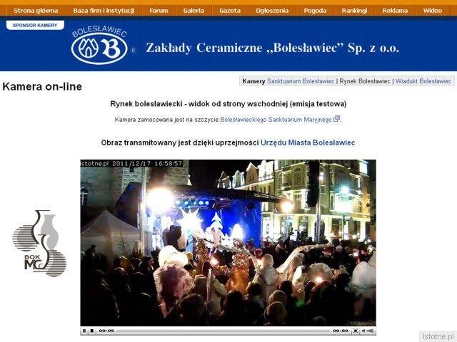 Czytelnicy portalu Istotne.pl mogli oglądać na żywo obraz z bolesławieckiego rynku. Przekaz był możliwy dzięki BOK-MCC i uprzejmości Urzędu Miasta Bolesławca.