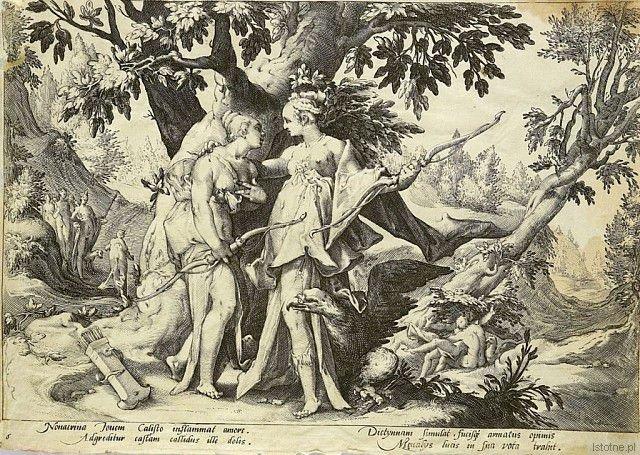 H. Goltzius, Jowisz pod postacią Diany uwodzi Kalisto