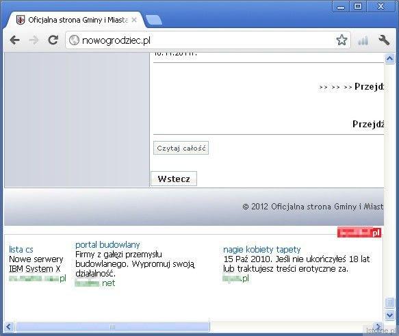 Linki do komercyjnych witryn były na samym dole oficjalnej strony Nowogrodźca