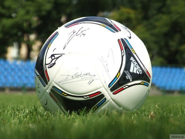 Na piłce swoje autografy złożyli piłkarze reprezentacji Holnadii