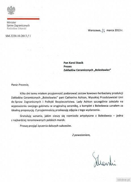 List ministra Radosława Sikorskiego