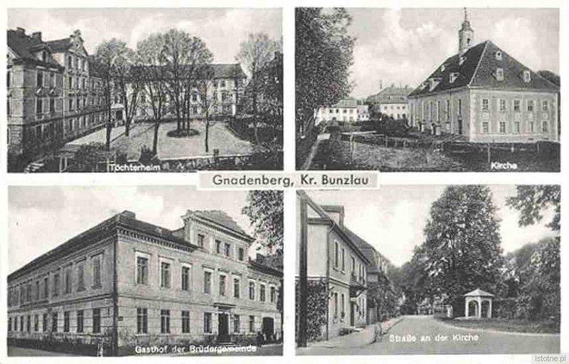 Na widokówce widzimy (od prawej z góry): Pensjonat Panien, Kościół, Zajazd Braci oraz fragment dzisiejszej ulicy Świętojańskiej.