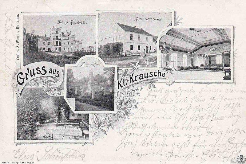 Mały Kruszyn na pocztówce z końca XIX w. Od prawej z góry: pałac, restauracja Gräbela i pomnik wojenny. Obecnie jest to ulica Kasztanowa w Kruszynie