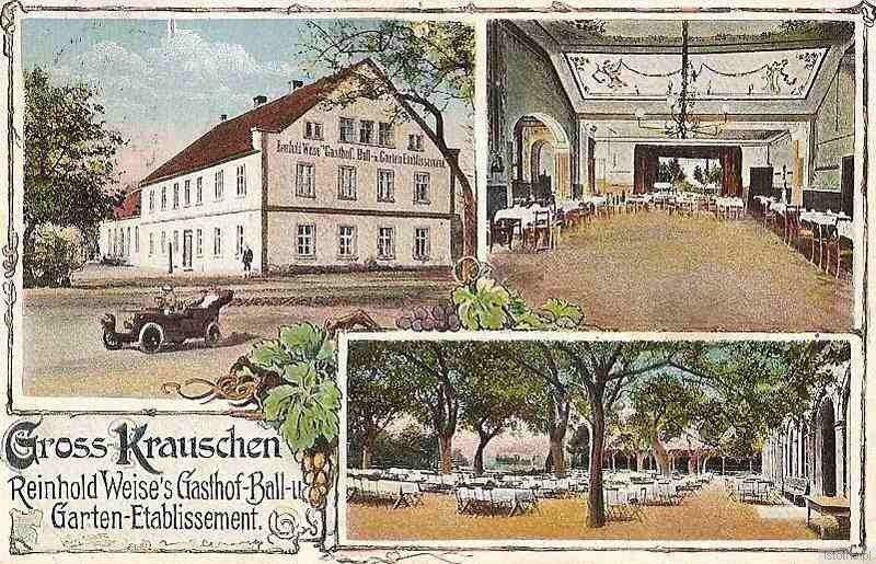 Pocztówka wysłana z przedwojennego Kruszyna w pierwszej połowie XIX wieku. Przedstawia zajazd z salą balową Reinholda Weise