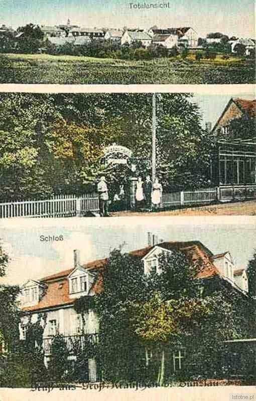 Kruszyn na karcie pocztowej z lat dwudziestych XX w. Na górze widać panoramę wsi, w środku wejście do gospody, a na dole pałac