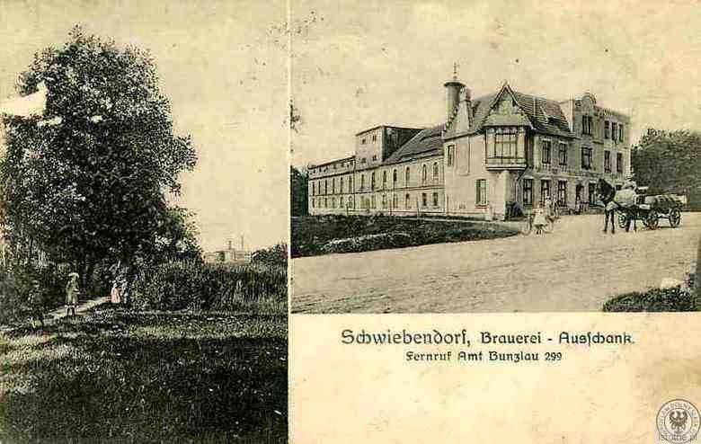 Pocztówka z 1913 roku reklamująca browar w Świeborowicach