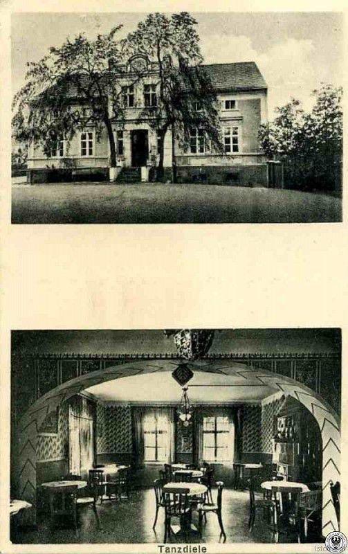 Kartka pochodzi z lat 40. XX wieku. Prezentuje fasadę gospody oraz salę taneczną. Dziś sala do tańca pełni rolę sklepu
