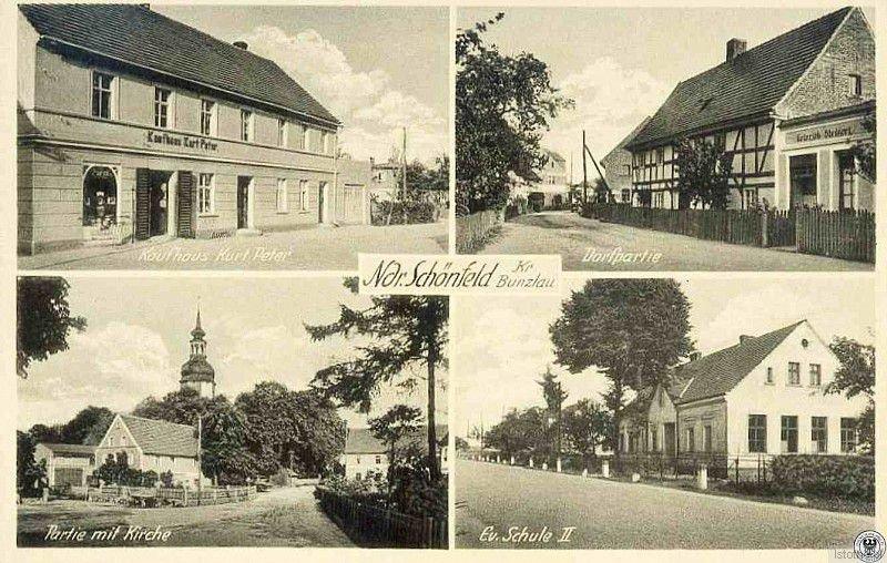 Pocztówka z lat 30. XX wieku. W dolnej części widzimy kościół oraz budynek szkoły ewangelickiej